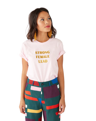 strong female lead tee - pink/gold