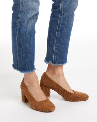 Brown corduroy heels with a 2.2 inch block heel.
