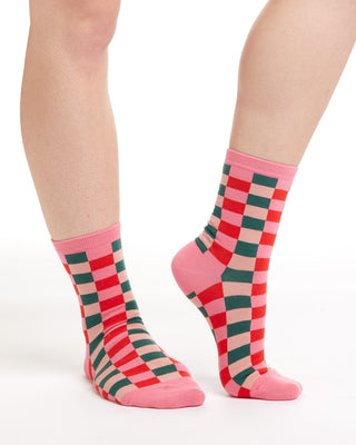 Green & pink checked crew socks.