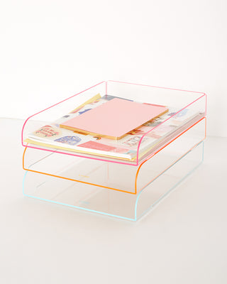 flash tidy acrylic stacking filing tray - pink