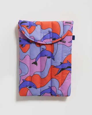 13 inch laptop sleeve shown in dolphin design