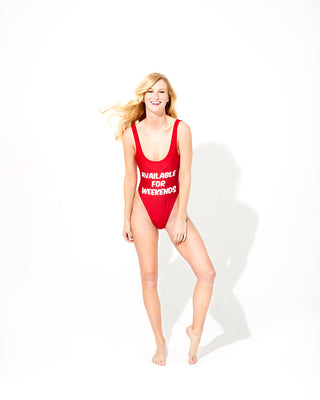 available for weekends swimsuit - red