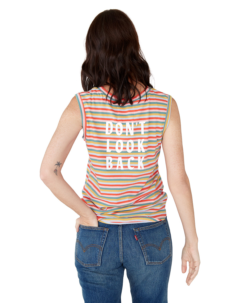 This tank top comes in a colorful striped pattern, with 'Don't Look Back' printed on the back.