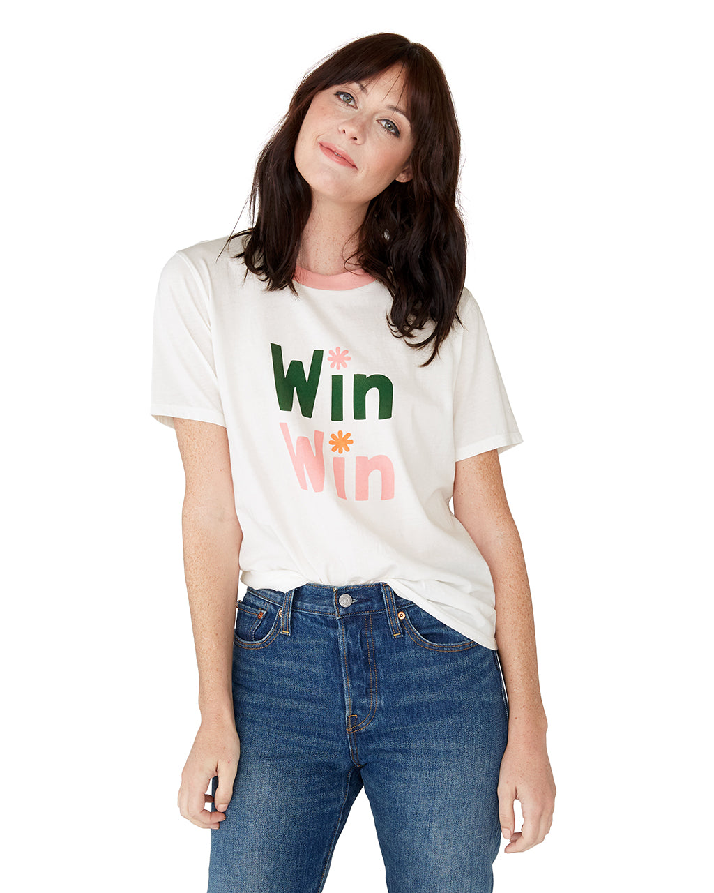 This tee comes in white, with pink ringer detail and 'Win Win' printed in pink and green on the front.