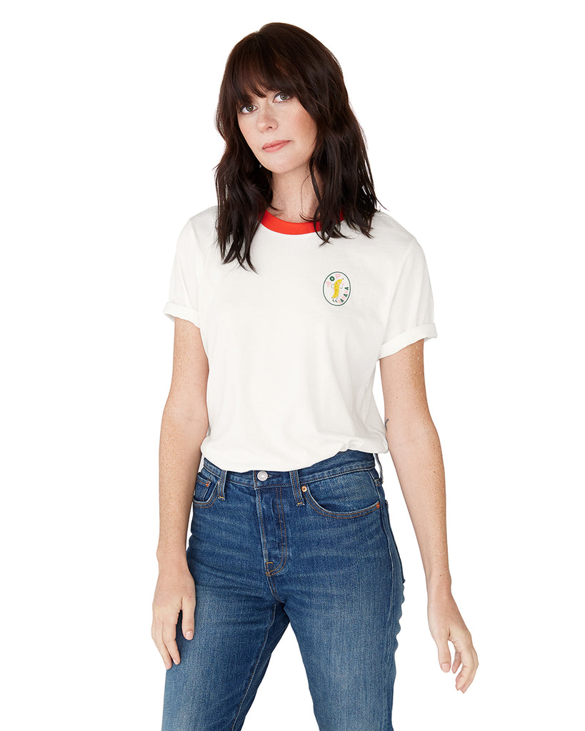 This tee comes in white, with red ringer collar detail.