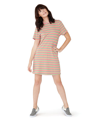 This dress comes in a colorful rainbow-striped design.