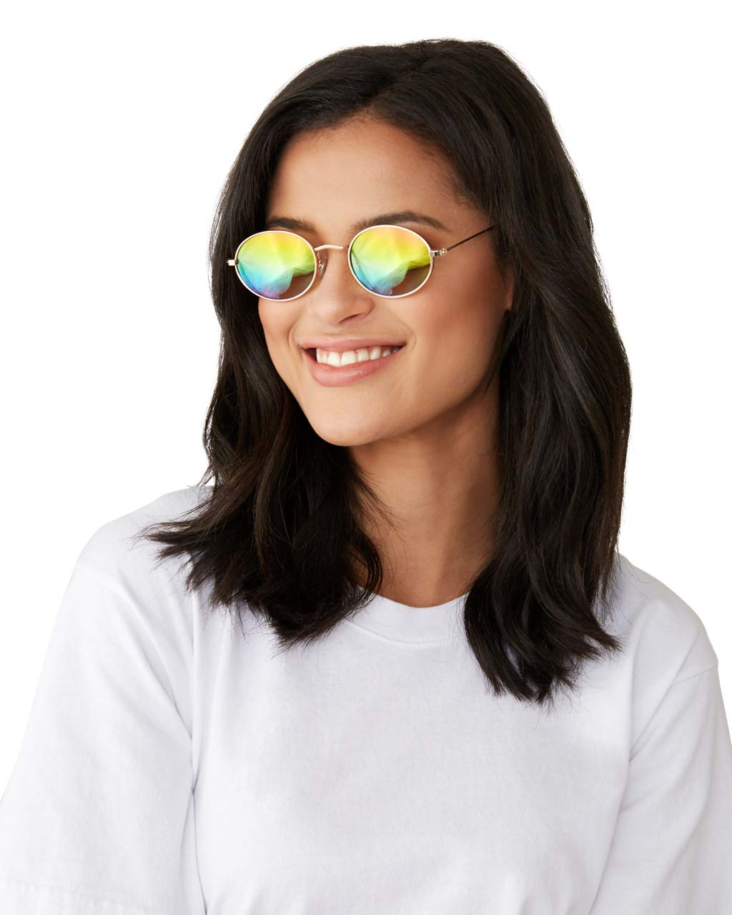woman wearing sunglasses with gold metal frame and metallic rainbow lenses