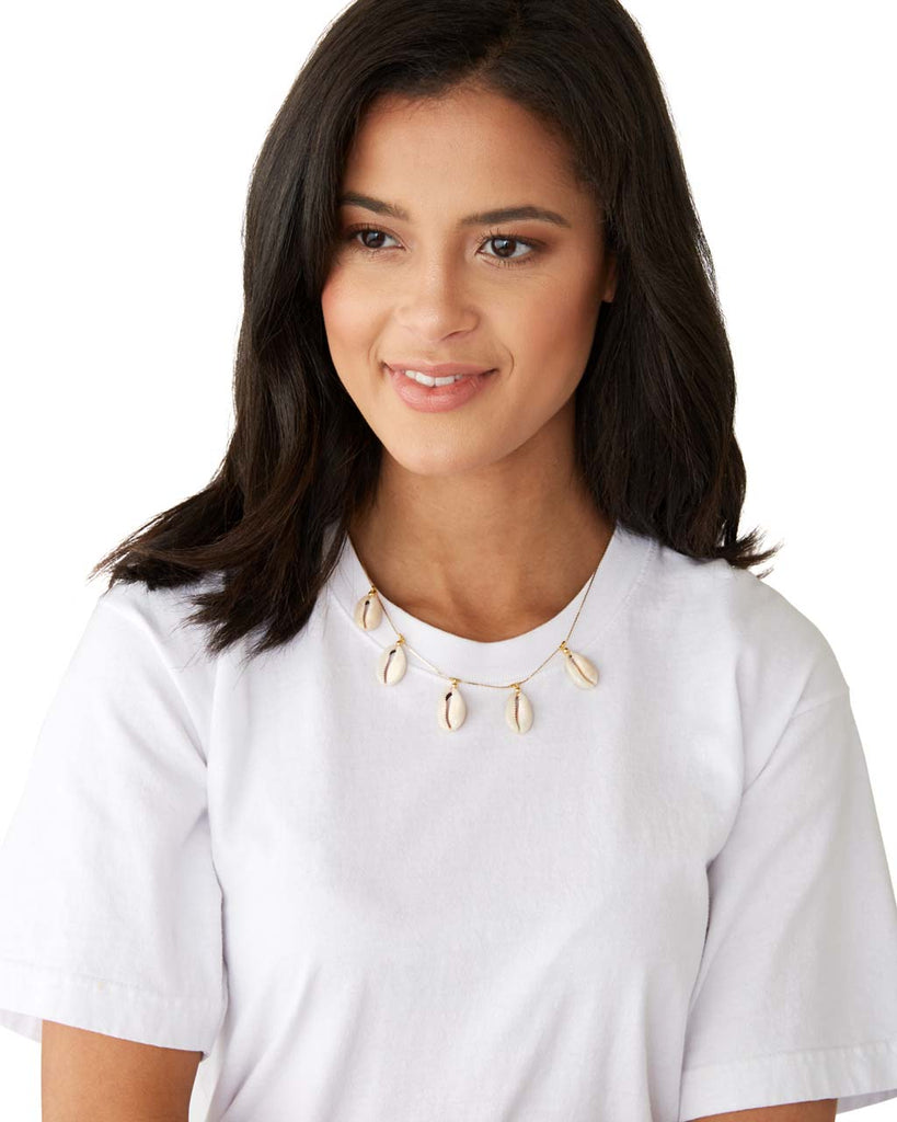 This Shashi necklace is 17-19 inches in length and features a lobster-clasp.
