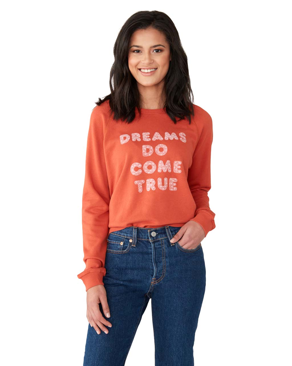 This sweatshirt comes in red, with 'Dreams Do Come True' flock-printed in pink on the front.
