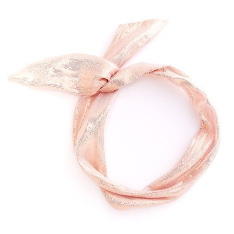 twist scarf - metallic rose gold