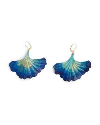 blue watercolor gingko earrings
