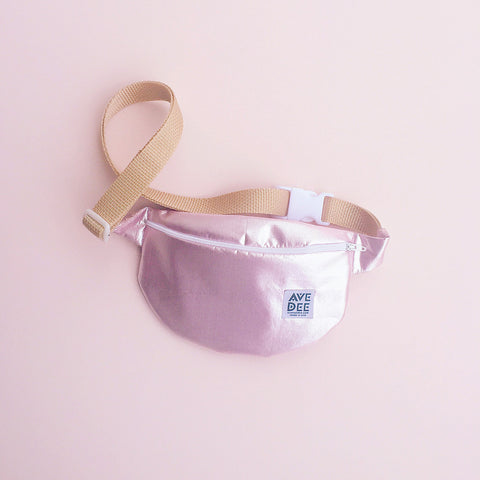 pink lamé fanny pack by avenue dee