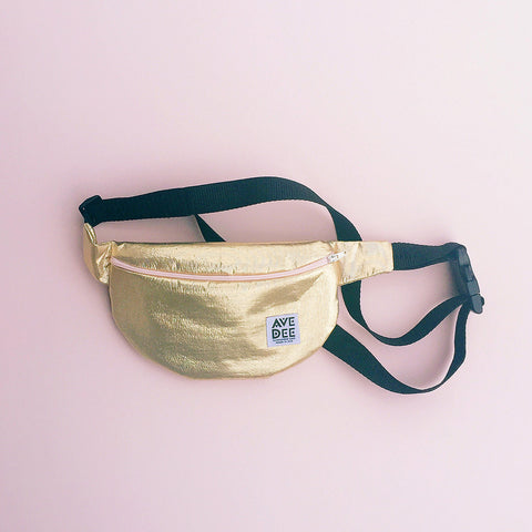 gold lame fanny pack by avenue dee