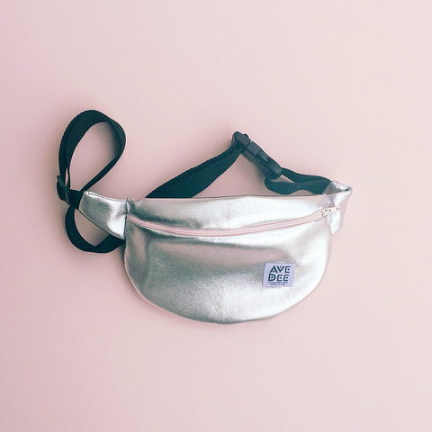 silver lame fanny pack by avenue dee