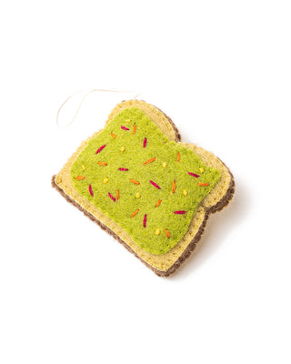 avocado toast ornament flat lay
