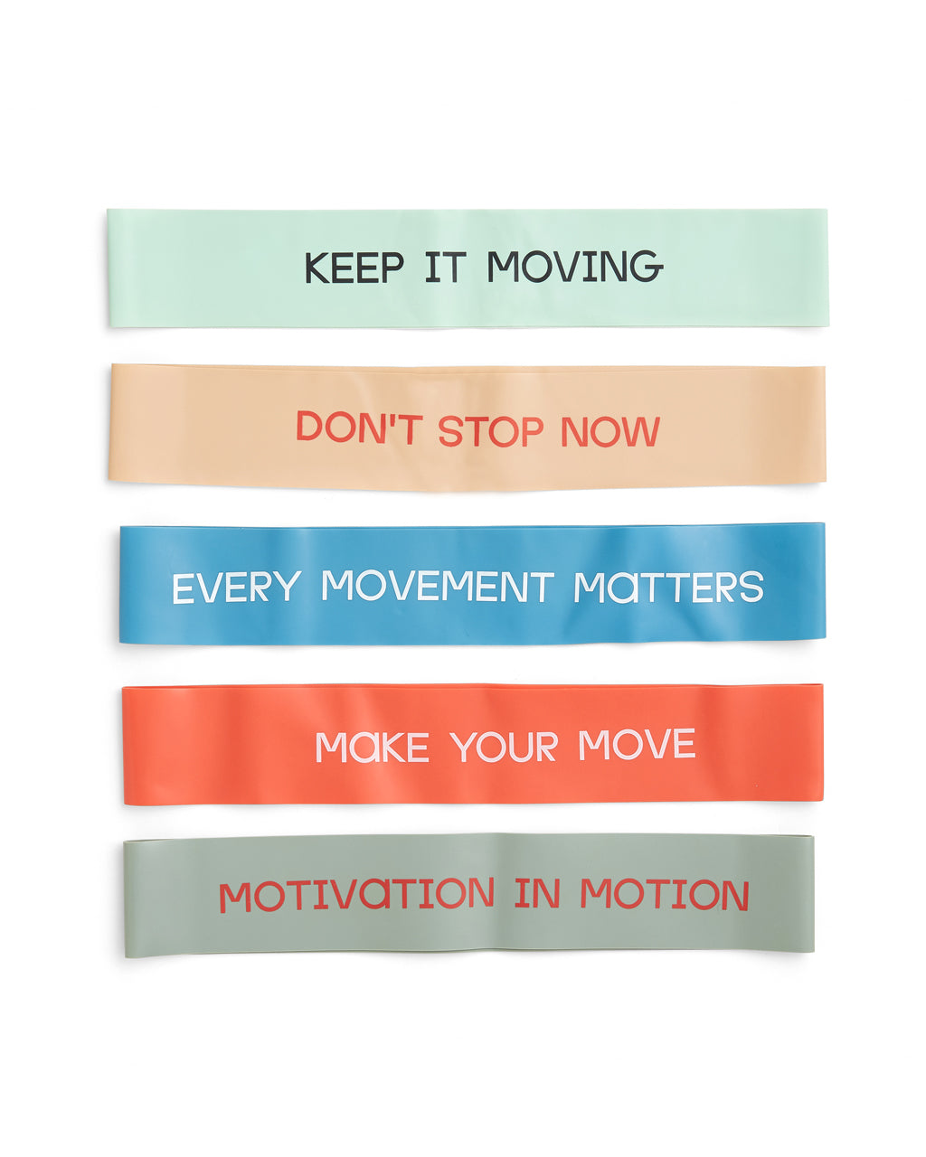 set of 5 bala bands with motivational quotes
