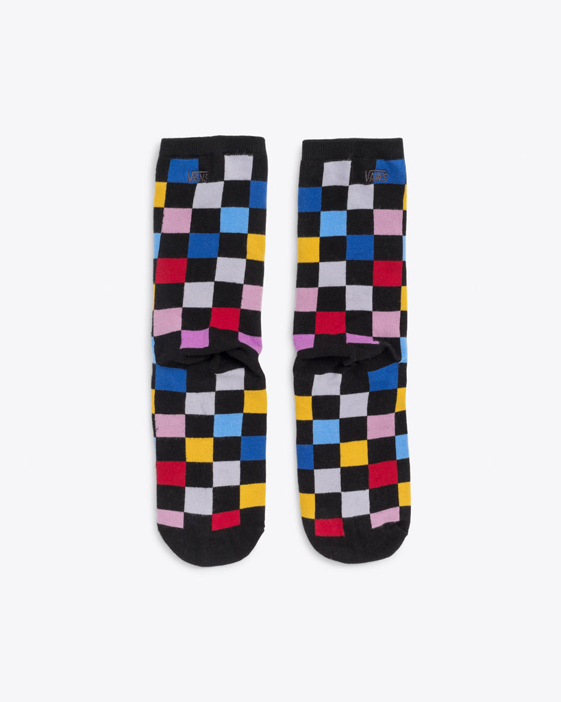 Ticher socks with black base and multicolor checkerboard pattern.