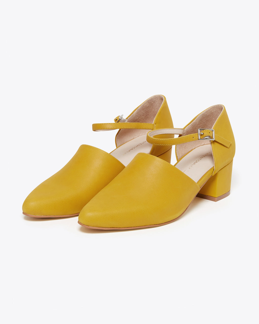 yellow covered toe heels
