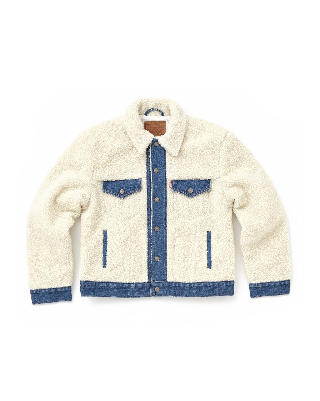 flat view of off white sherpa jacket with denim details