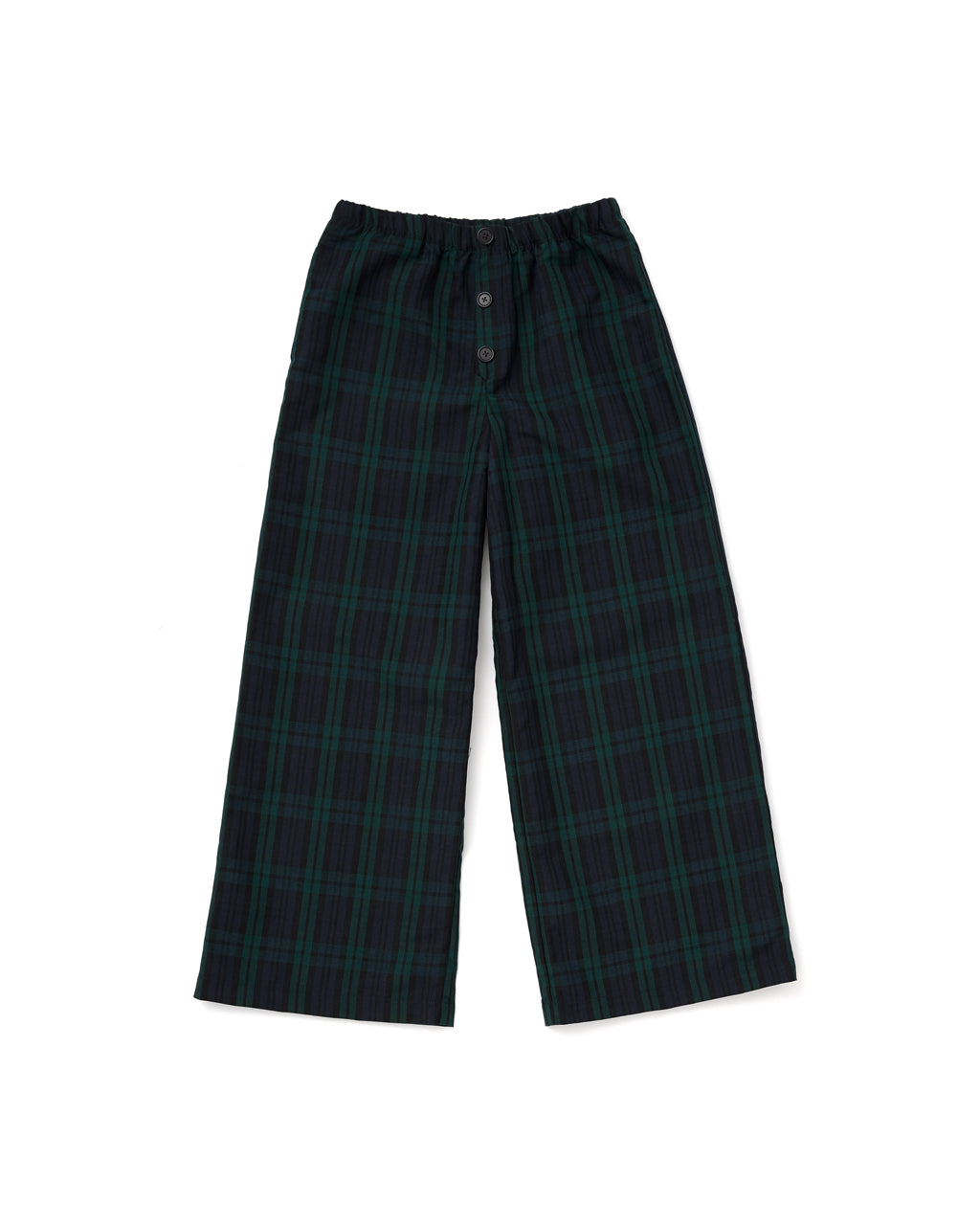 flat view of wide leg navy and green plaid pants