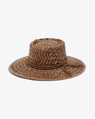 brown woven straw hat with brown string tassel around the base