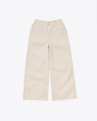 pair of beige long, wide-leg denim pants with zip fly and button top and belt loops.