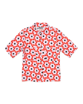 collared tee - floral tile