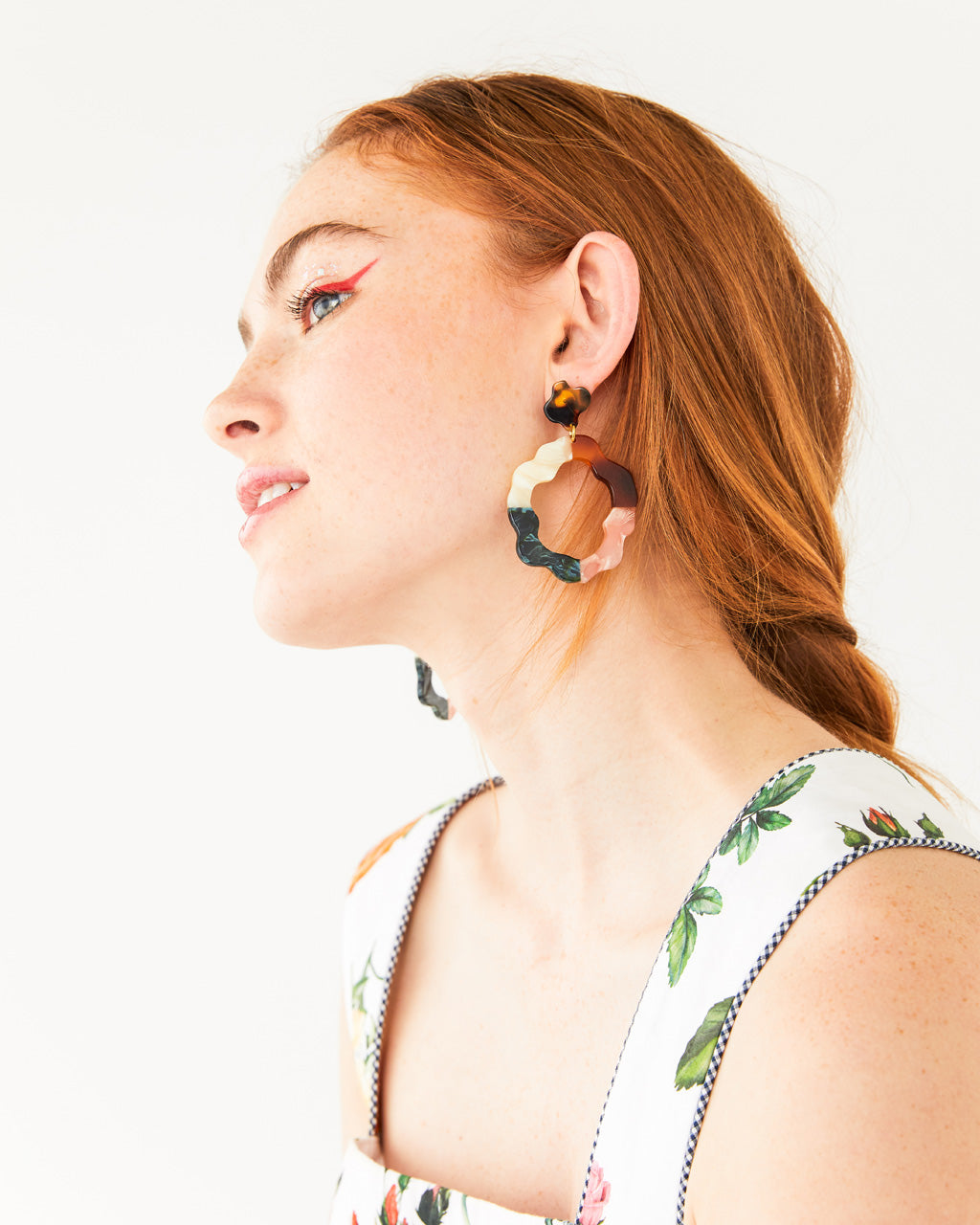 multi colored shaped hoop shown on model