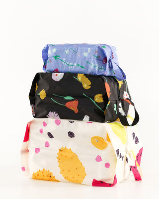 set of 3 baggu zip pouches each with a different floral pattern