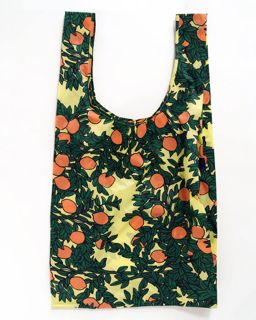 big baggu in yellow with all over orange tree print