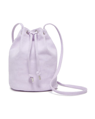 canvas drawstring purse -  lilac