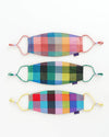 set of 3 fabric masks with adjustable loops in multicolor madras plaid prints