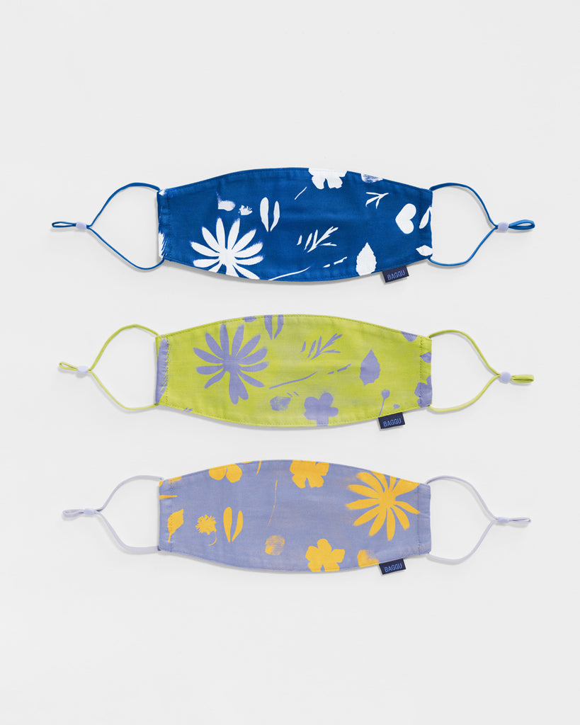 set of 3 fabric masks with adjustable loops in floral sun prints