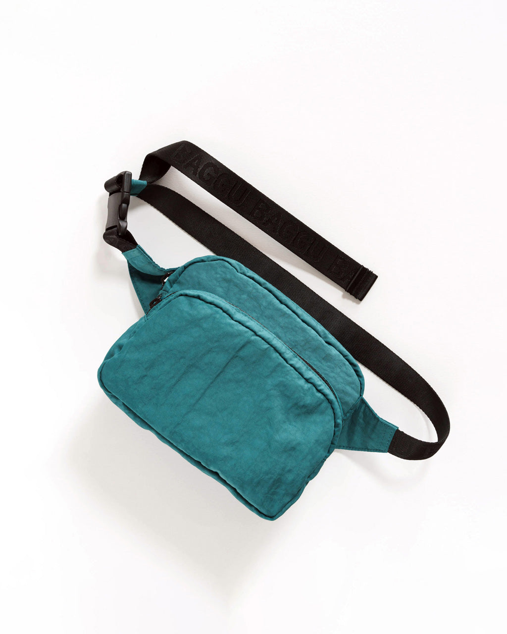 nylon fanny pack in malachite blue with black strap