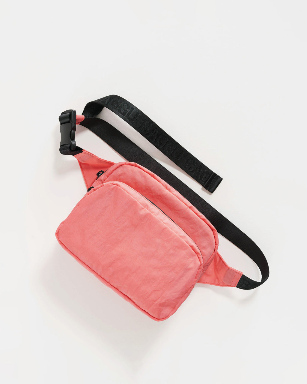 nylon fanny pack in watermelon pink with black strap