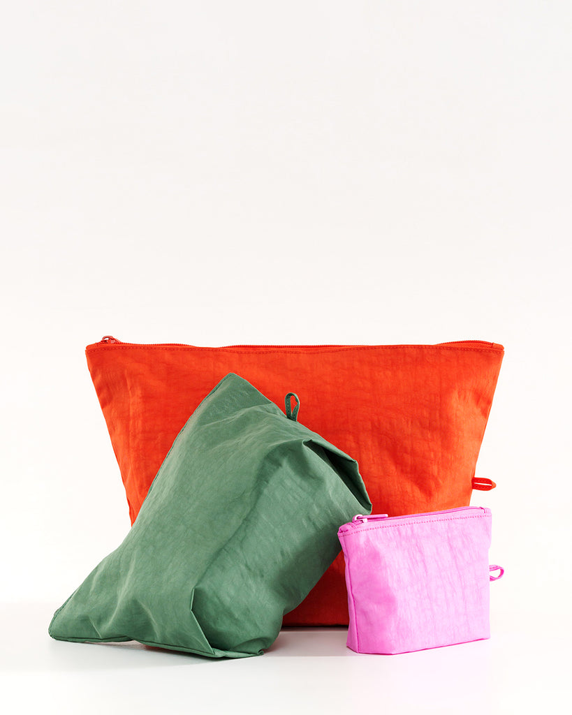 Set of 3 pouches; orange, pink and green