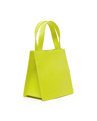 Mini Leather Retail Tote - Chartreuse