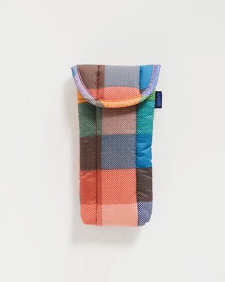 puffy glasses sleeve in multicolored madras plaid pattern