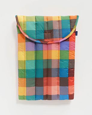 "16"" laptop sleeve in multicolored madras plaid pattern"