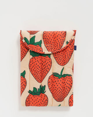 13 inch laptop sleeve in blush pink with red strawberry pattern