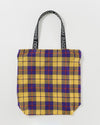 Ripstop nylon tote bag in a plaid pattern.