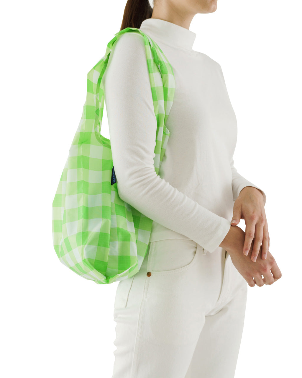 This Standard Baggu comes in a lime green checkerboard pattern.