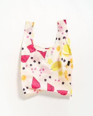 cream standard baggu with a fruit pattern all over
