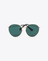 Oversized round sunglasses with dark green lens