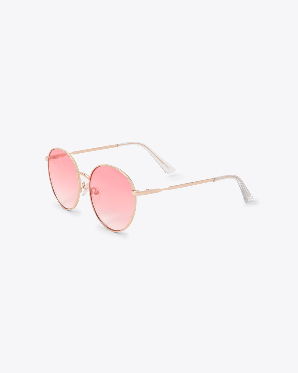 Oversized round sunglasses with pink lens