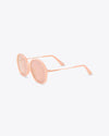 side view of pink stems on oversized vintage inspired sunglasses