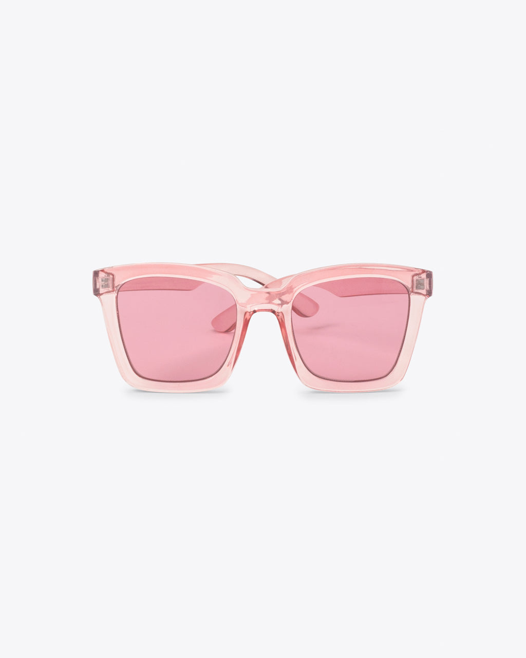 square sunglasses with pink frames and pink lenses