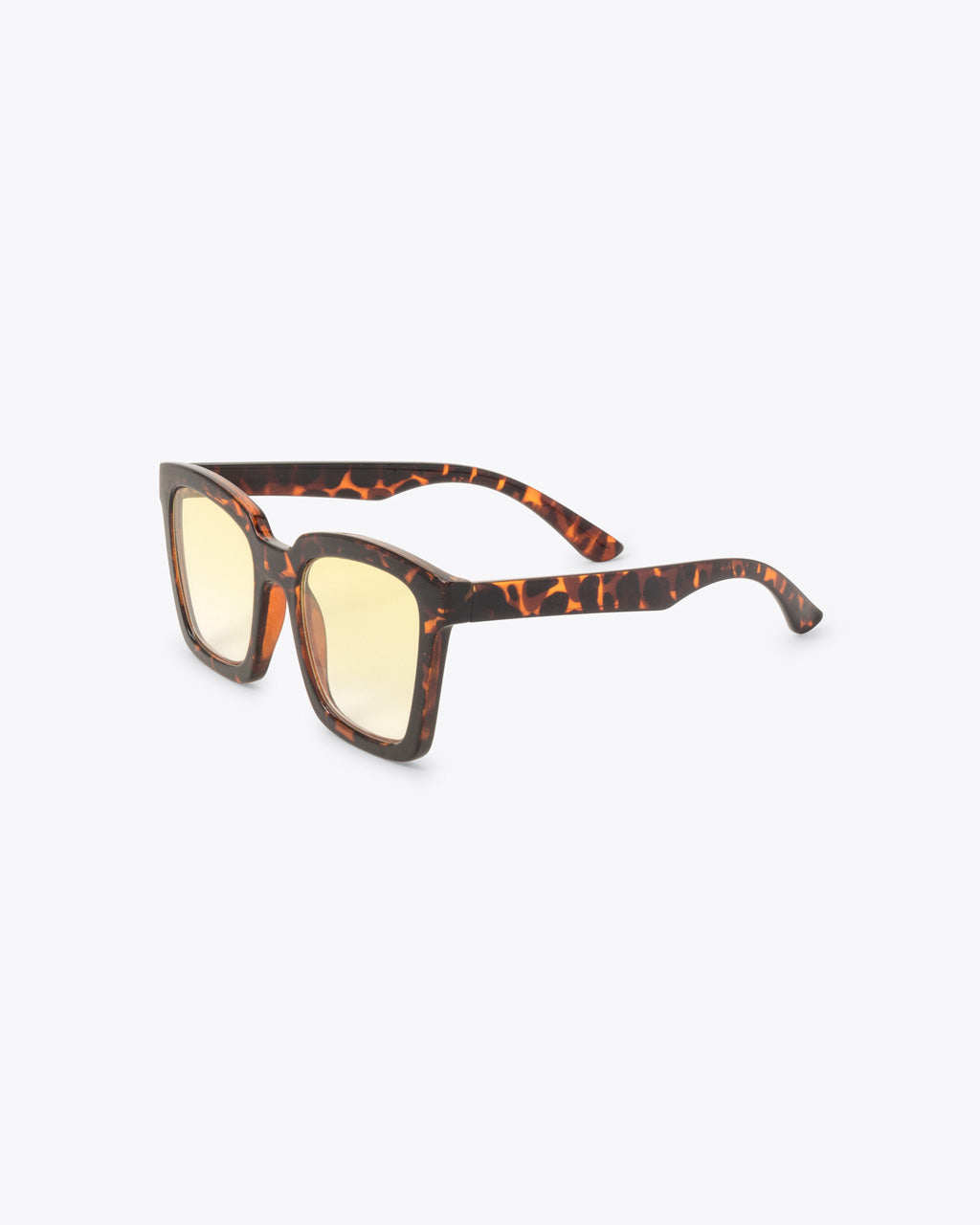 side view of square tortoise sunglasses