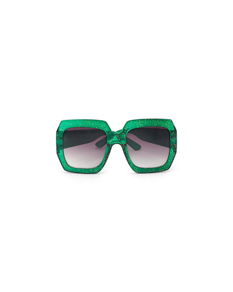 glitter square frame sunglasses - green