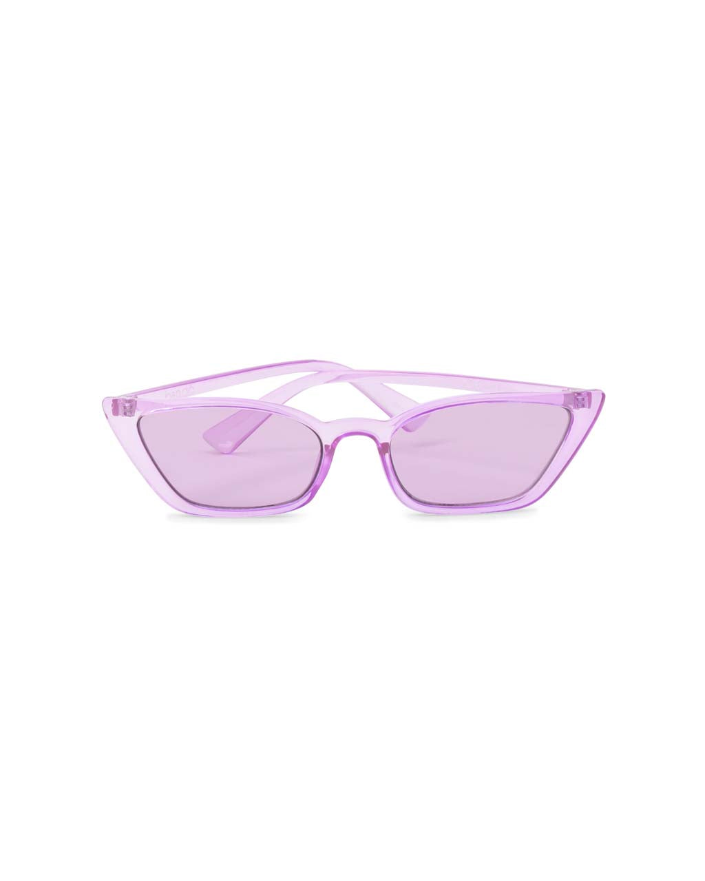 Transparent lilac cat-eye sunglasses with lilac lenses